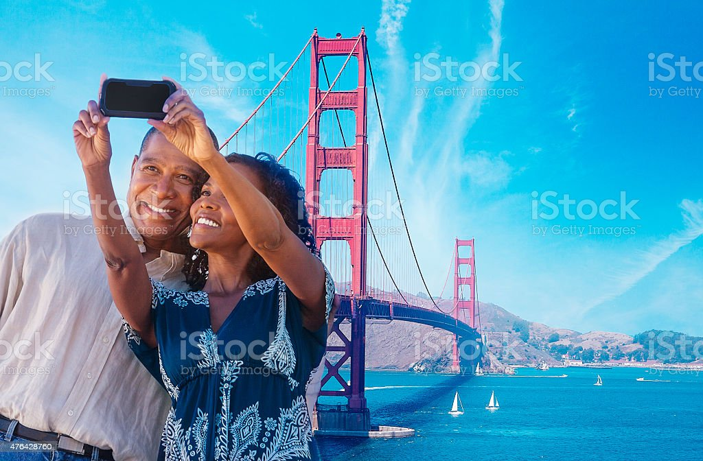African American Couple taking a selfie in San Francisco stock photo