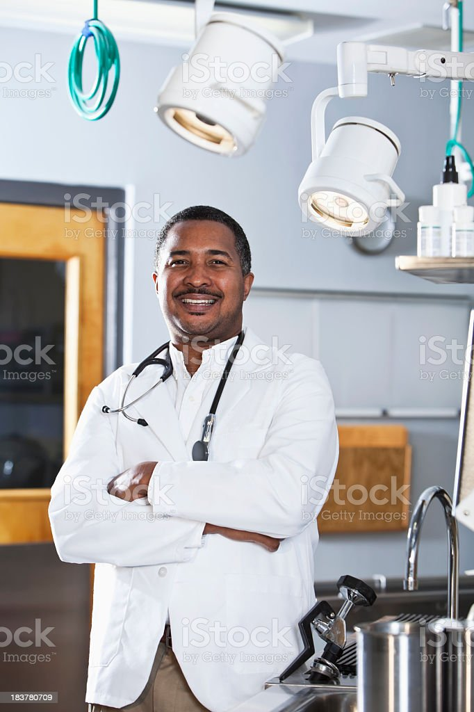 African American doctor in office stock photo