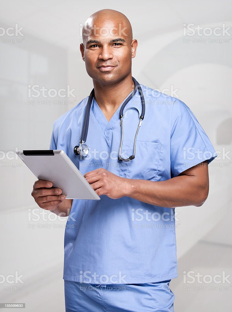 African American Doctor With Tablet Computer royalty-free stock photo