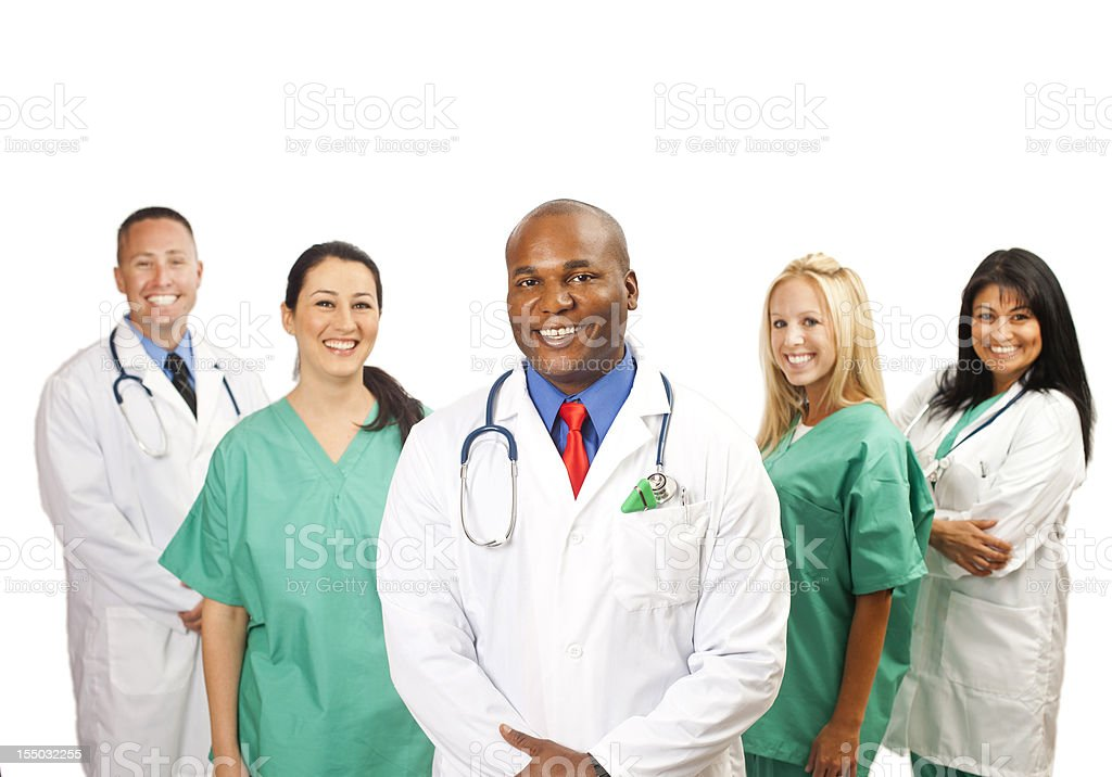 African American Doctor with Team stock photo