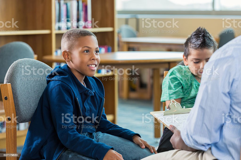 African American elementary student in after school program stock photo
