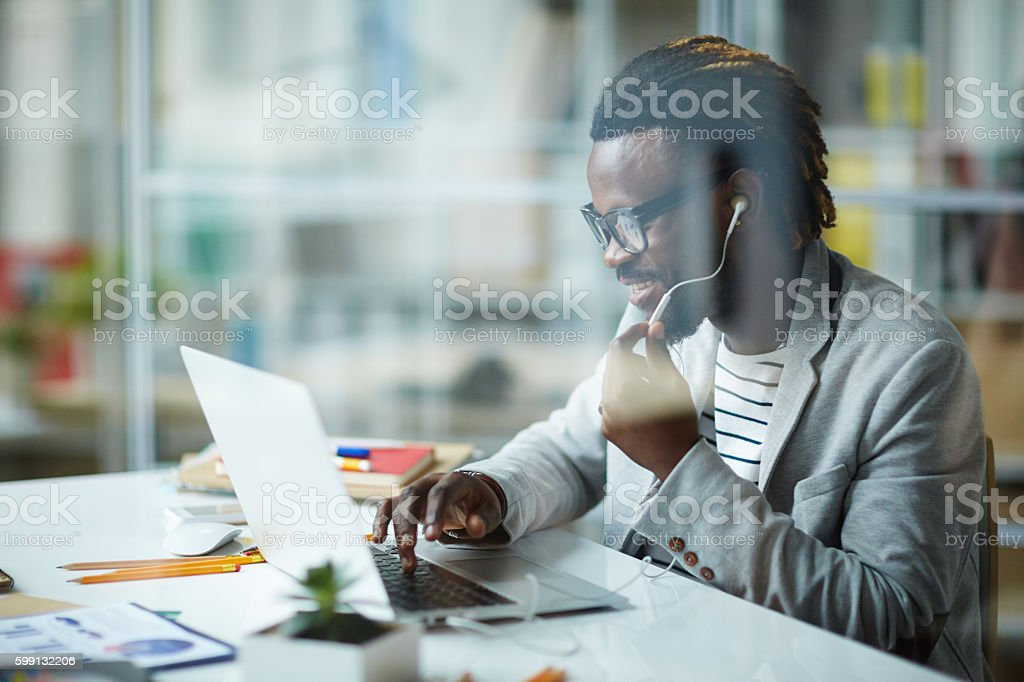 African - American Entrepreneur in Office stock photo
