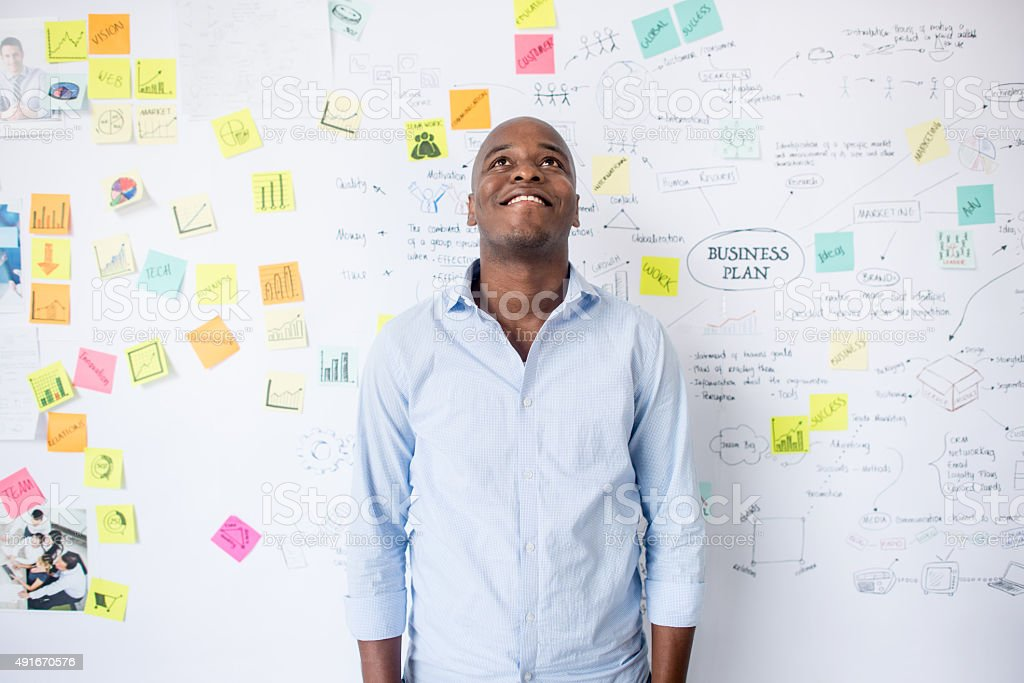 African American entrepreneur thinking about a business plan stock photo
