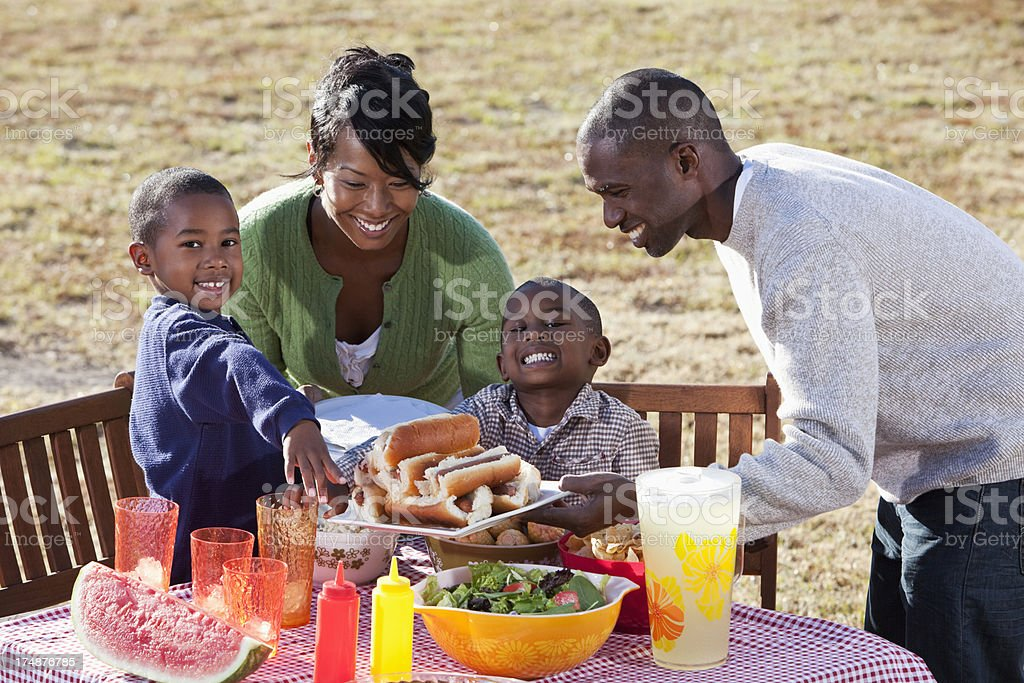 African American family enjoying cookout royalty-free stock photo