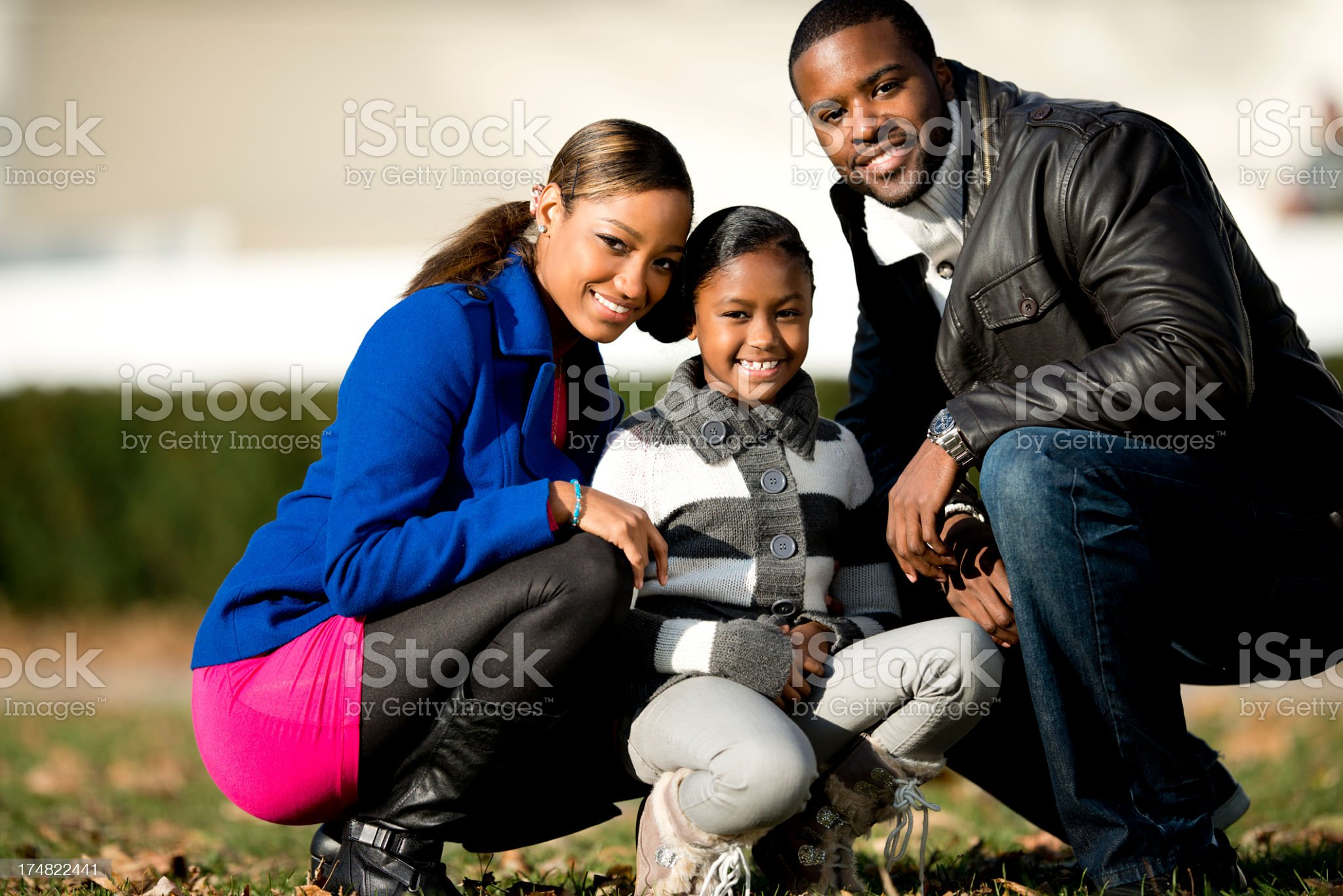 African American Family Outdoors royalty-free stock photo