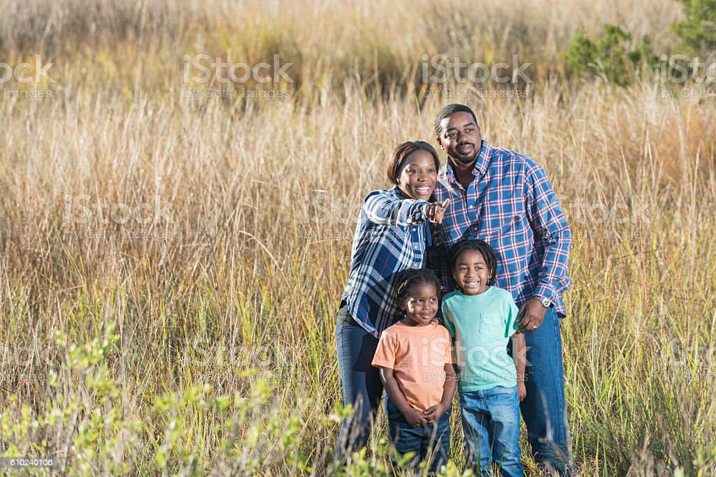African American family standing together in a field stock photo