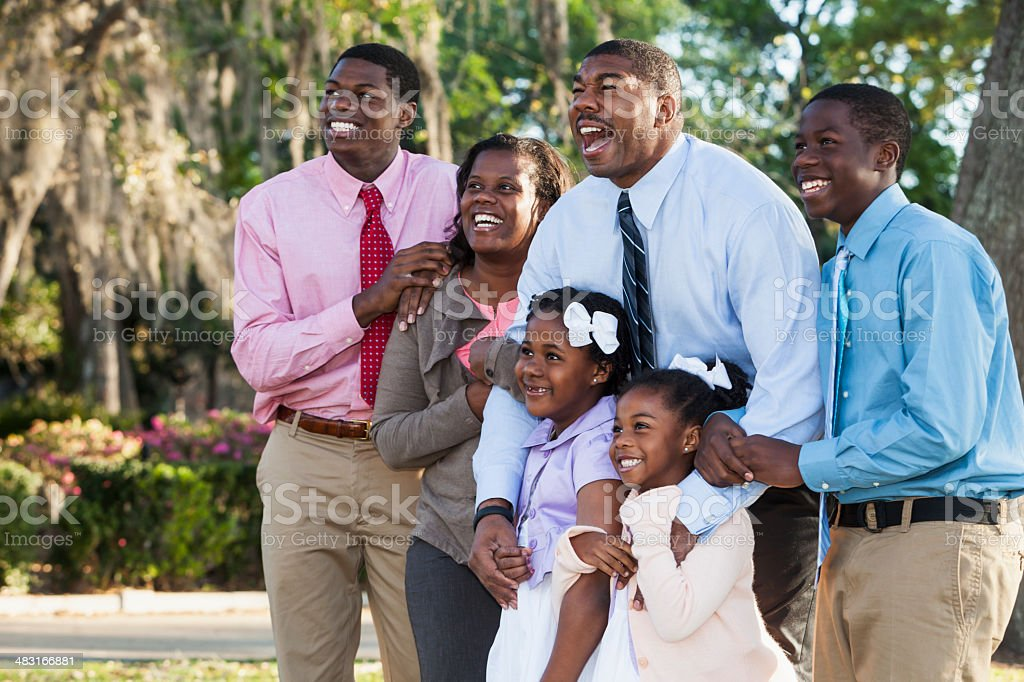 African American family with four children stock photo