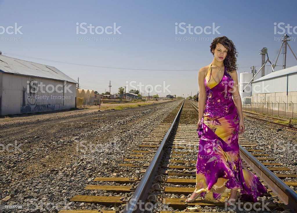 African American Fashion Model on Railroad Tracks stock photo
