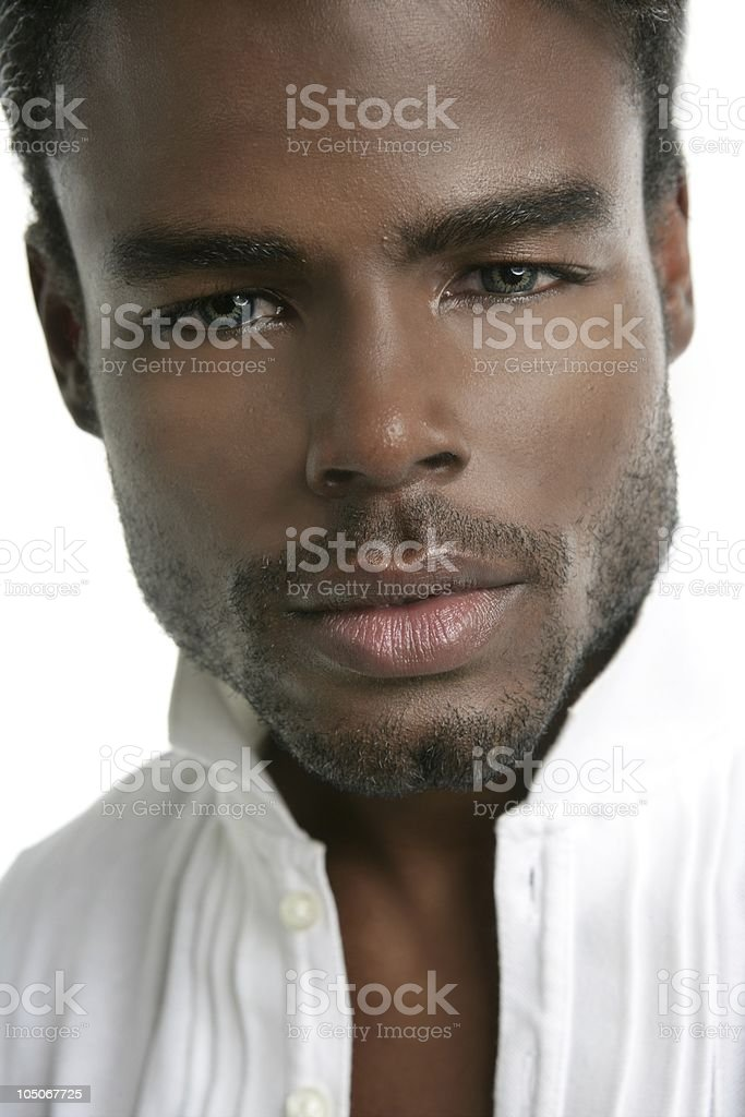 African american fashion model portrait white background stock photo