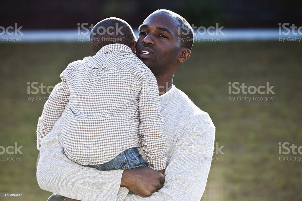 African American father and son stock photo