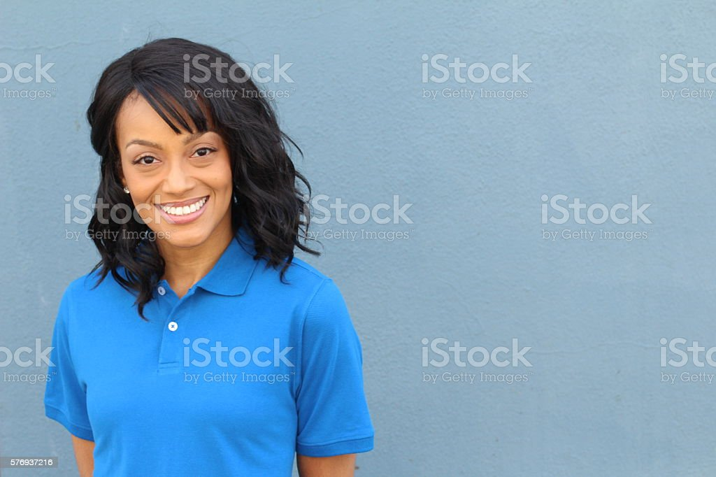 African American female blue collar worker stock photo