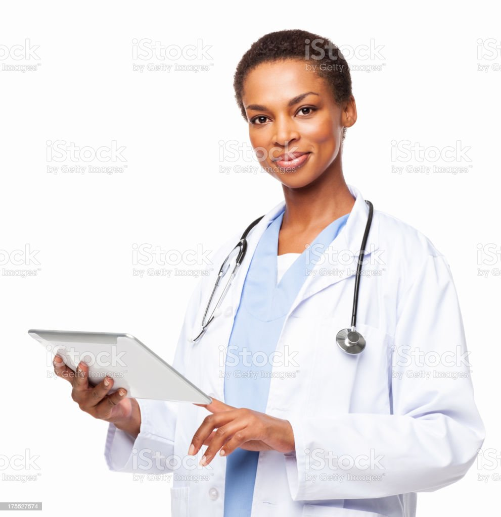 African American Female Doctor With a Tablet Computer - Isolated royalty-free stock photo