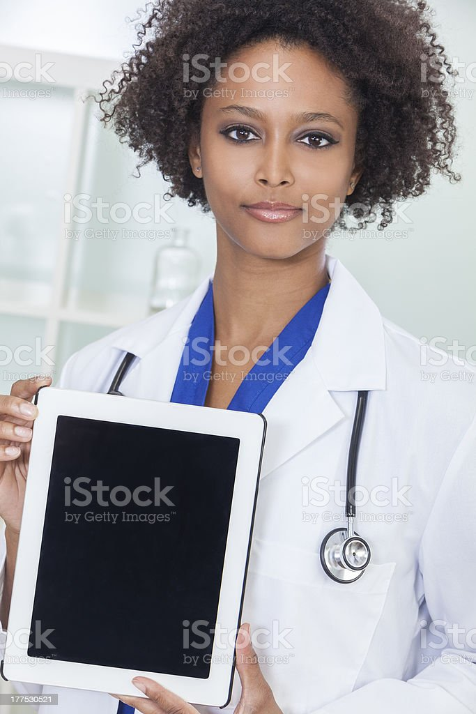 African American Female Doctor With Tablet Computer royalty-free stock photo