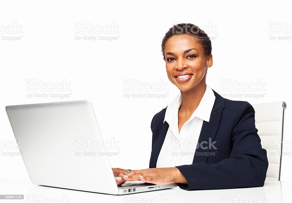 African American Female Executive Working On Laptop - Isolated royalty-free stock photo
