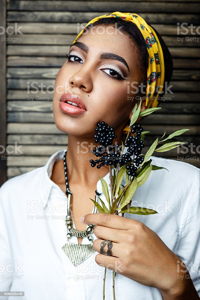Close up portrait of Beautiful sexy young african- american female...