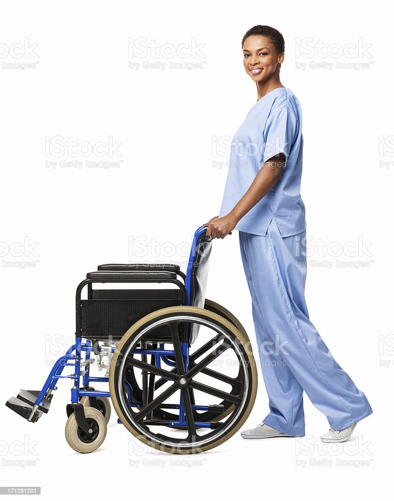 African American Female Nurse With a Wheelchair - Isolated royalty-free stock photo
