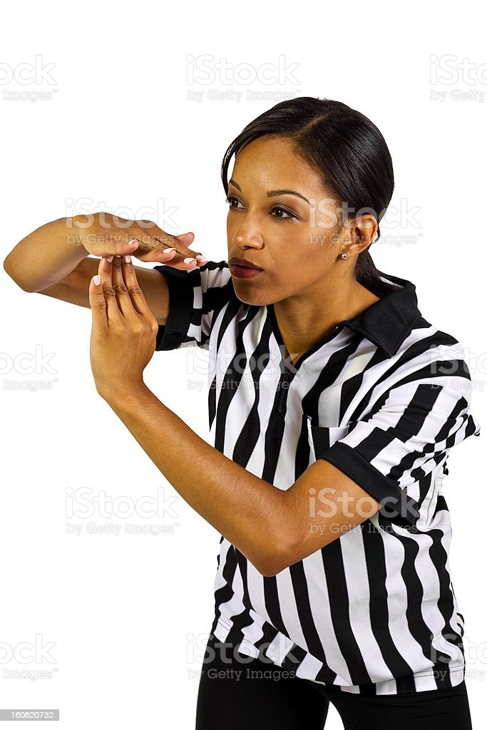 African American Female Referee Gesturing Time Out stock photo