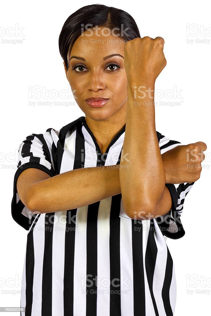 African American Female Referee Showing Hand Signals royalty-free stock photo