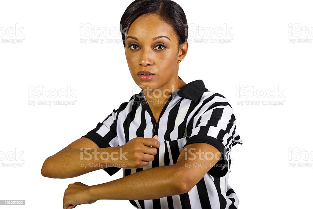 African American Female Referee Wearing a Striped Uniform royalty-free stock photo