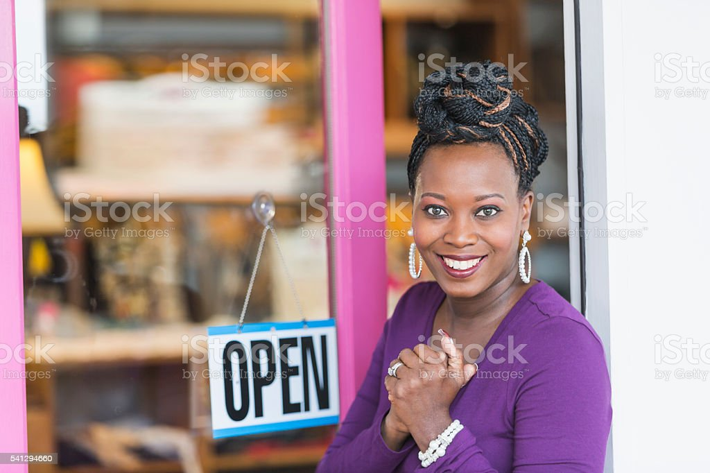 African American female small business owner stock photo