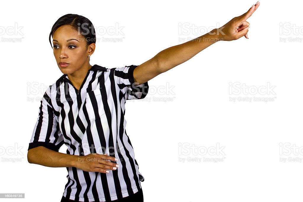 African American Female Sports Referee Gesturing a Violation royalty-free stock photo