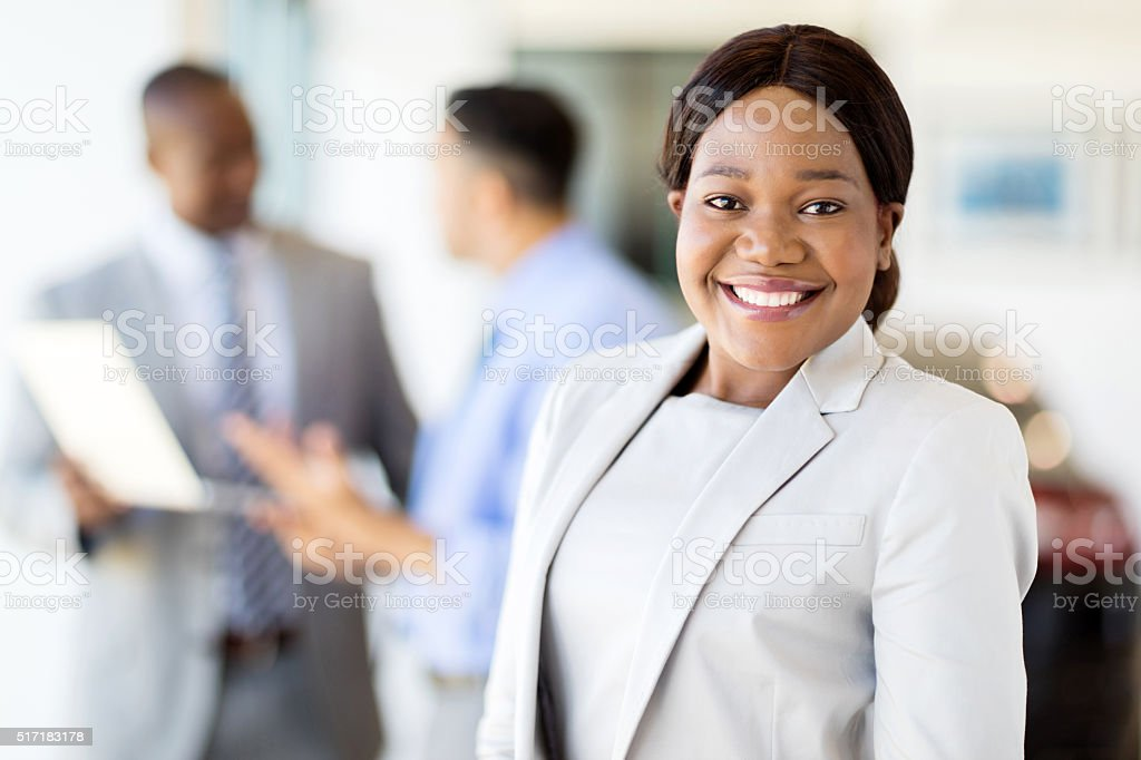african american female vehicle sales consultant stock photo