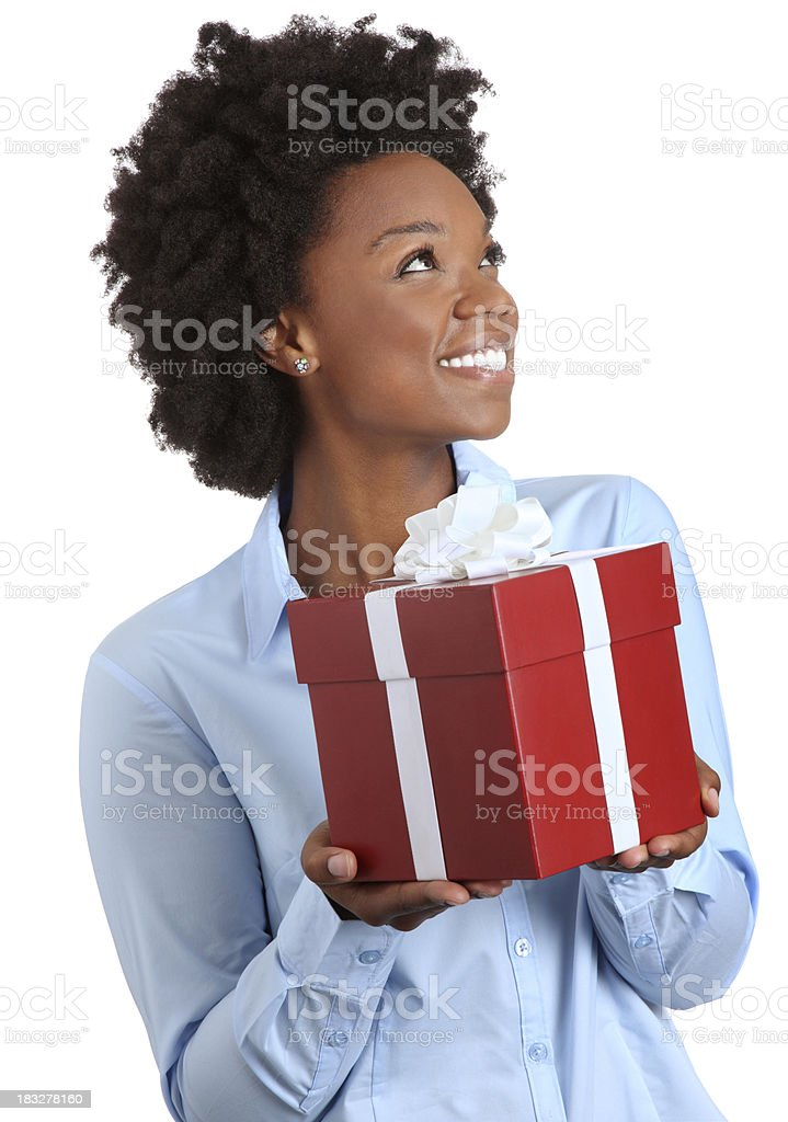 African American Girl Holding a Red Present royalty-free stock photo