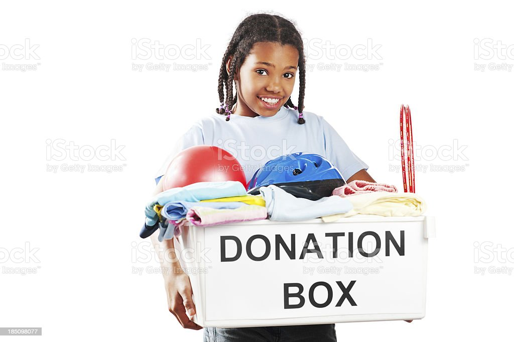 African American girl holding full donation box . royalty-free stock photo