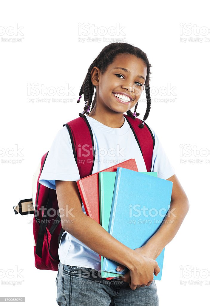 African American girl holding her notebook. royalty-free stock photo