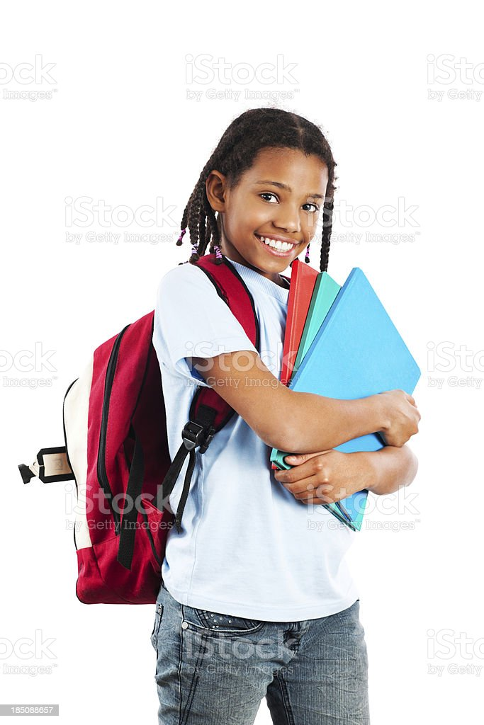 African American girl  holding her notebook. stock photo