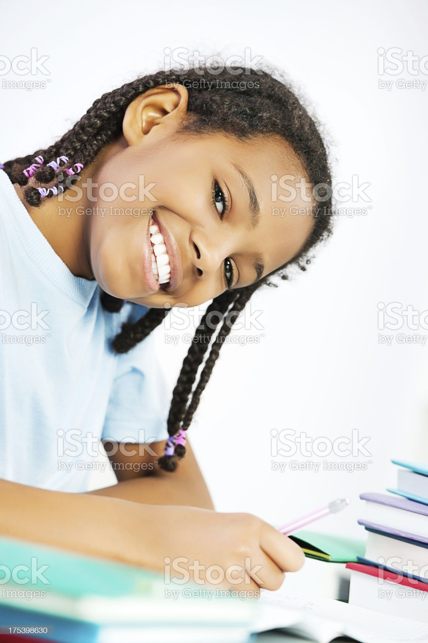 African American girl learning at home. royalty-free stock photo