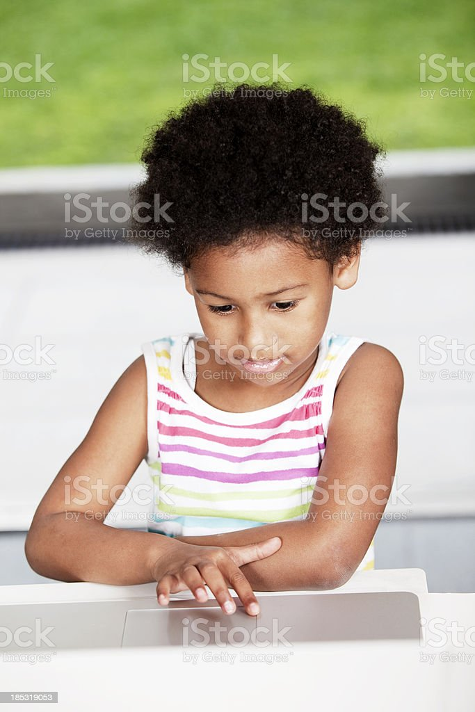 African American Girl on Laptop royalty-free stock photo