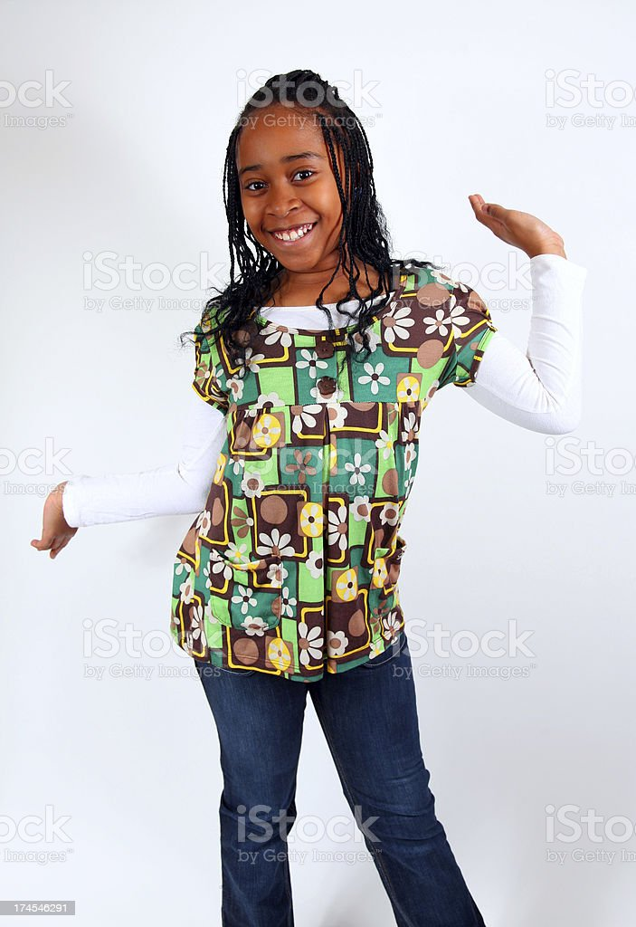 African American Girl Playful Pose royalty-free stock photo
