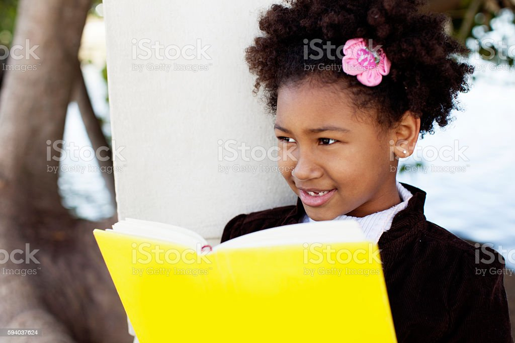 African American Girl Reading stock photo