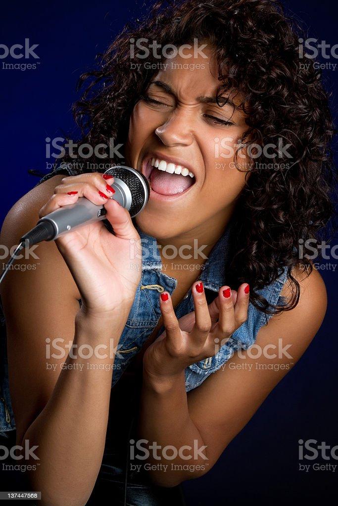 African American Girl Singing stock photo