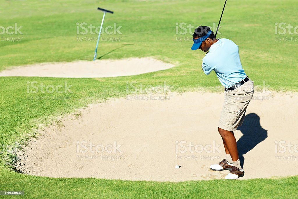 African American golfer during a game of golf royalty-free stock photo