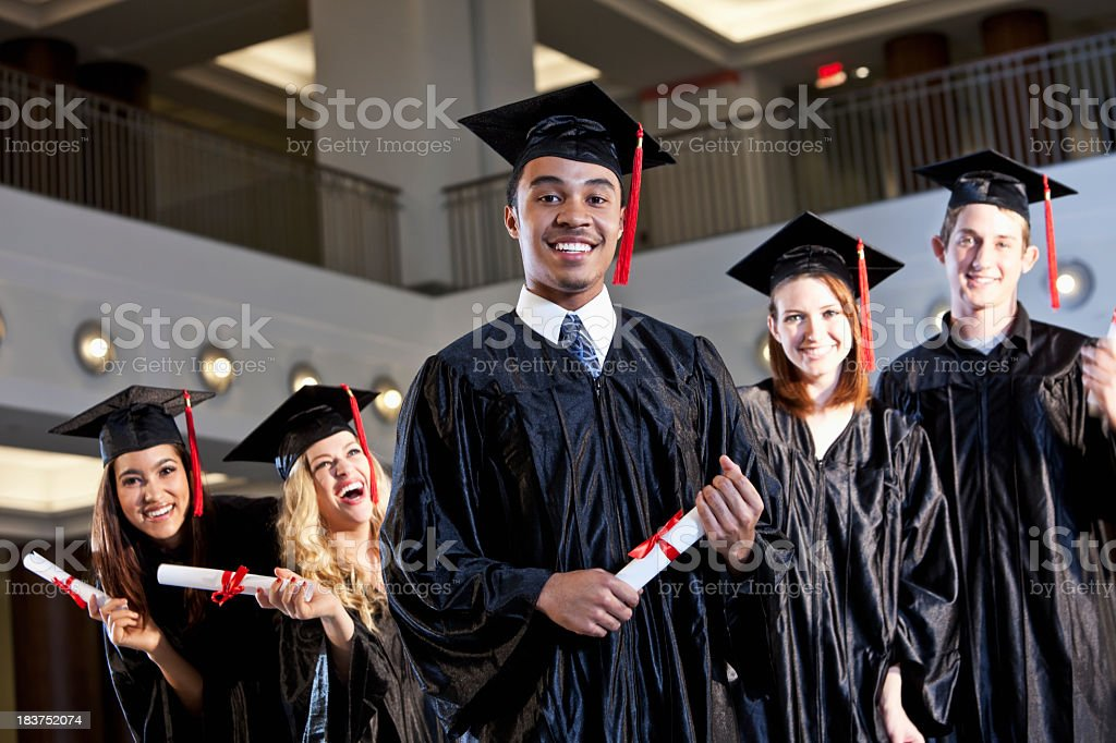African American graduate with class royalty-free stock photo