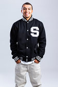 African American High School Student in Letterman Jacket