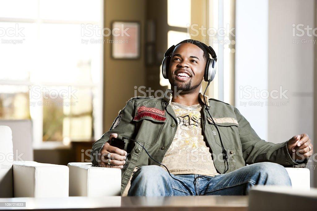 African American Male Enjoying Music royalty-free stock photo