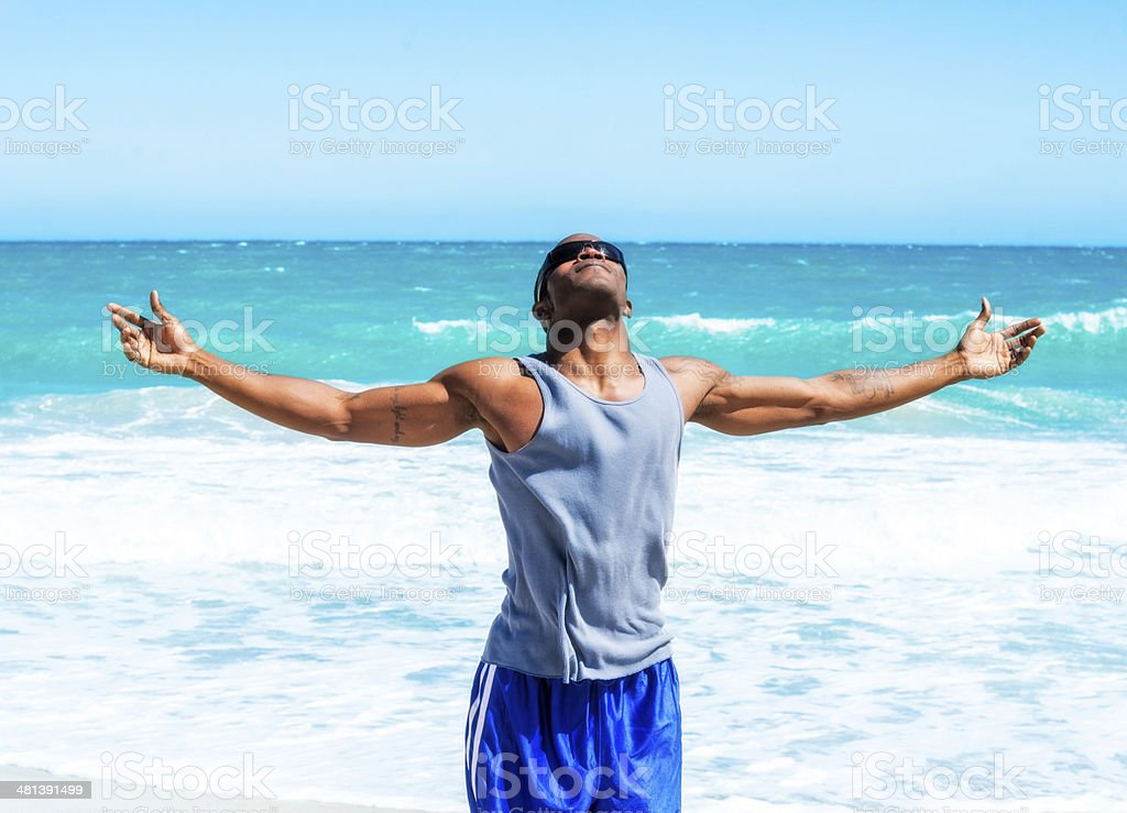 African American Man at Vero Beach stock photo