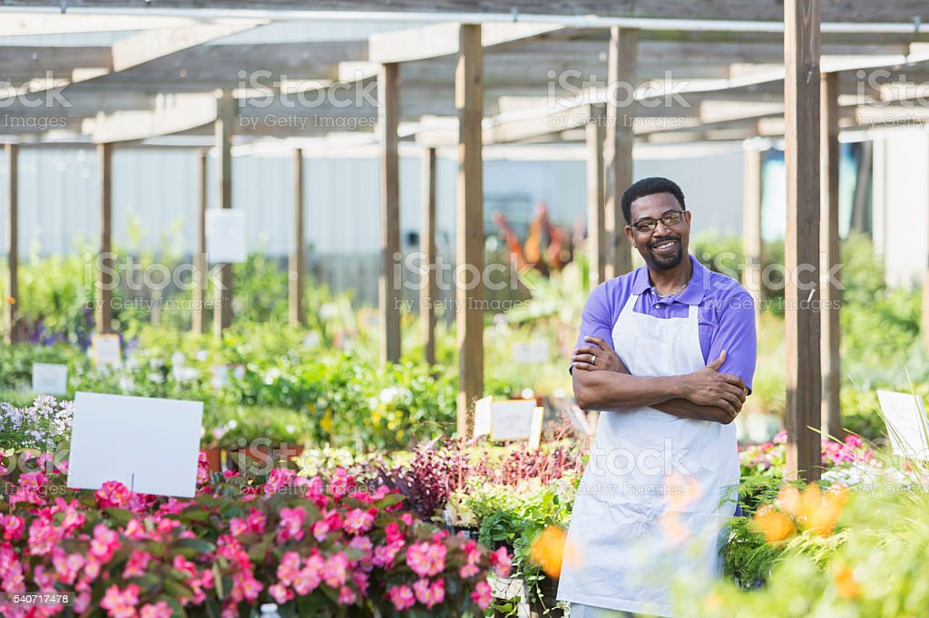 African American man, owner of plant nursery stock photo