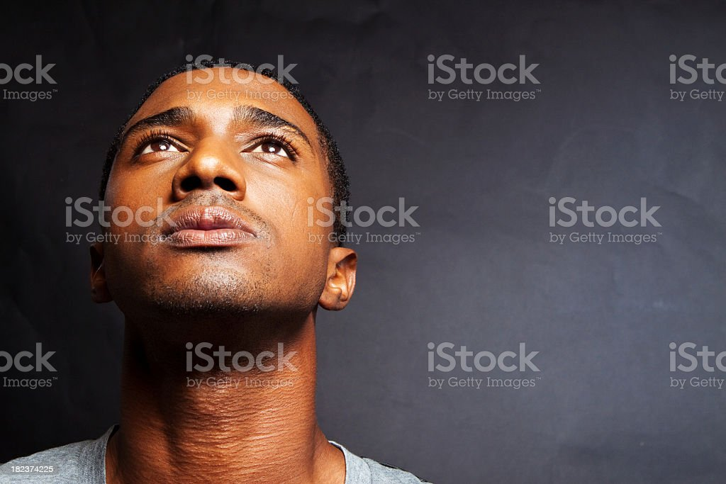 African American Man Thinking stock photo