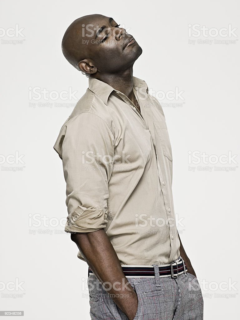 African american man with his hands in his pockets royalty-free stock photo