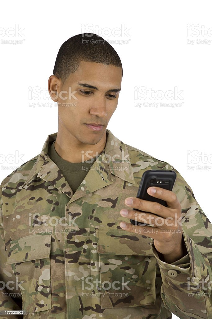 African American Military Man Texting royalty-free stock photo