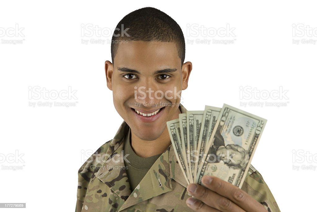 African American Military Man with Money royalty-free stock photo