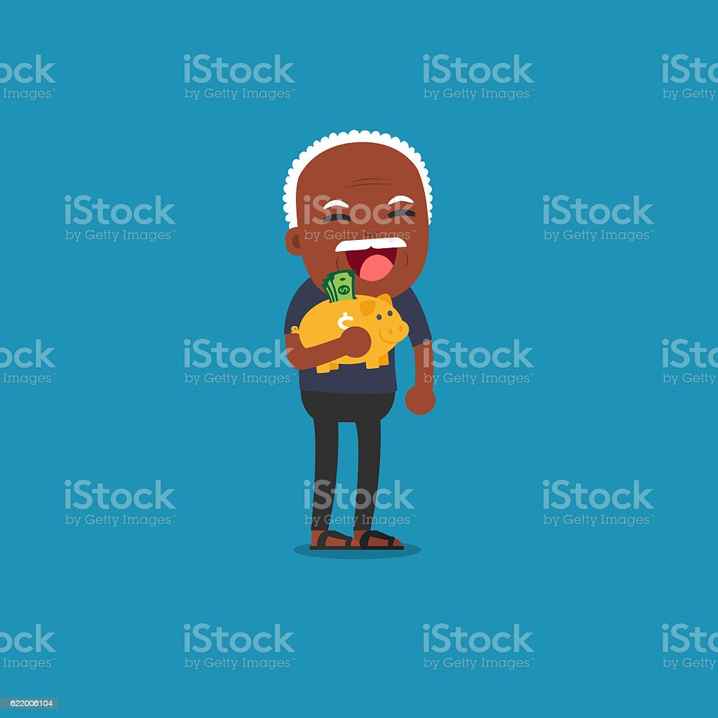 African american people - Old man with golden piggy bank, stock photo