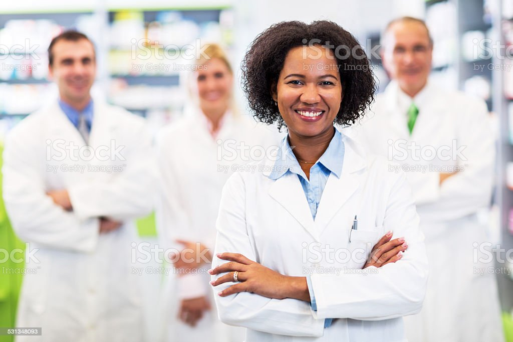 African American pharmacist. stock photo