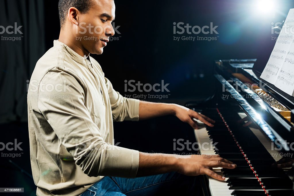 African American pianist. stock photo