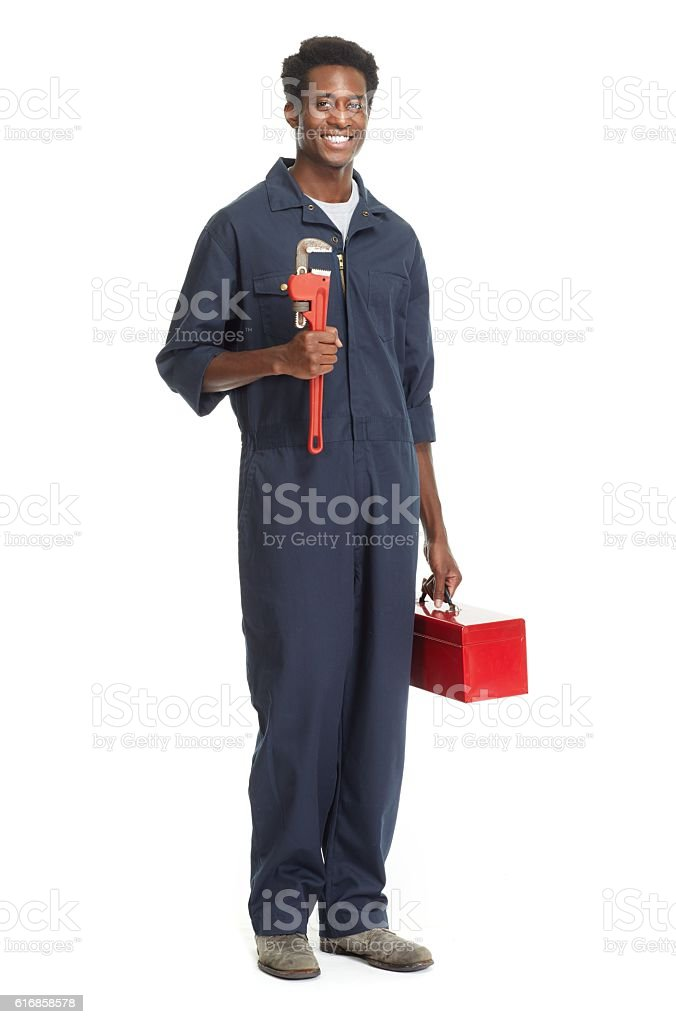 African American Plumber. stock photo
