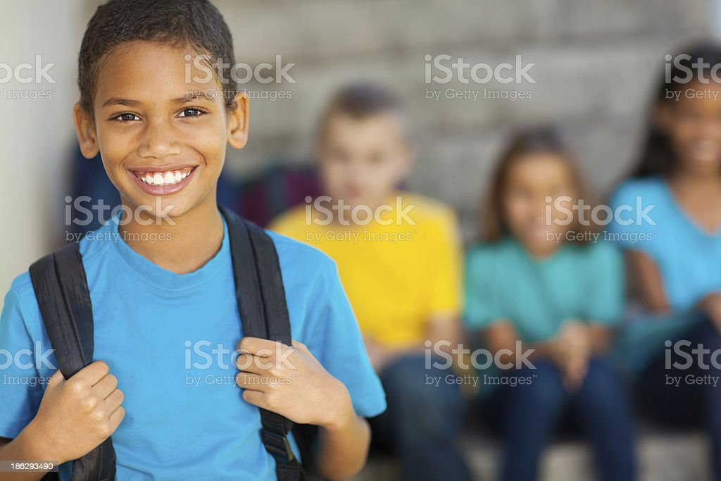 african american primary school boy stock photo